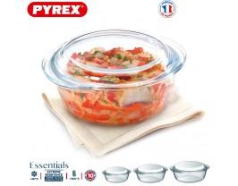 Pyrex Essentials Set 3 Round Casserole with Cover Borosilicate Glass Lid